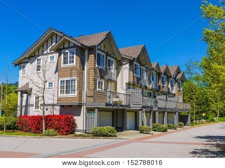 Complex of new townhouses in Burnaby Canada