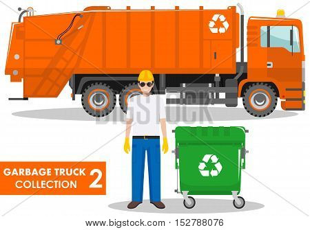 Detailed illustration of garbage man, garbage truck and dumpster on white background in flat style.