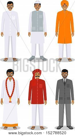 Detailed illustration of different standing indian men in the traditional national indian clothing isolated on white background in flat style.
