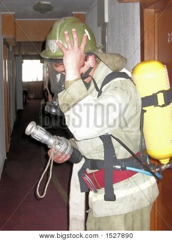 Firefighter Inside Building