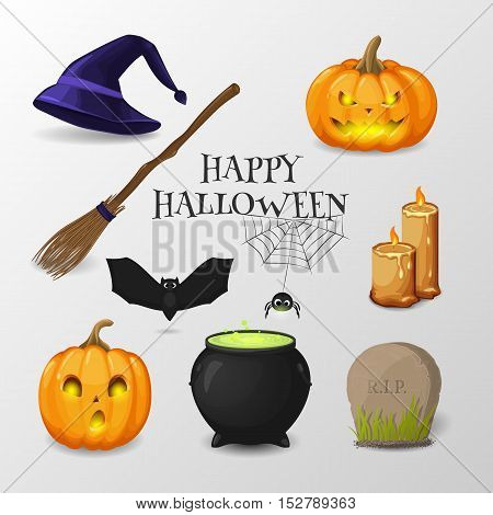 Vector collection of symbols for design Happy Halloween invitation. Set of cartoon icon (pumpkins, witch's hat, cauldron, bat, cobweb, spider, candle, broom, headstone).  Isolated from a background.