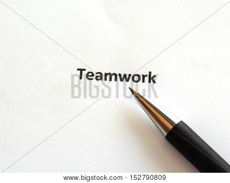Teamwork with pen isolated on white background.