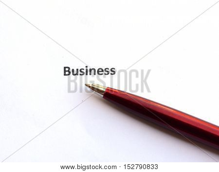 business with pen isolated on white background.