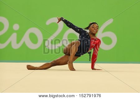 RIO DE JANEIRO, BRAZIL AUGUST 7, 2016: Olympic champion Simone Biles of United States competes on the floor exercise during women's all-around gymnastics qualification at Rio 2016 Olympic Games