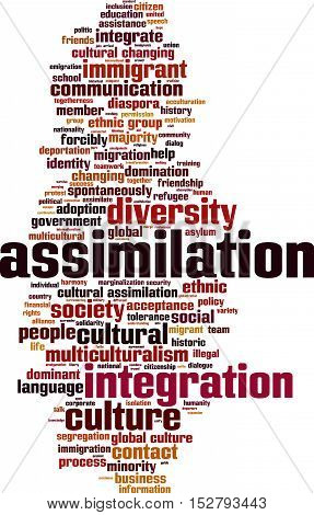 Assimilation word cloud concept. Vector illustration on white