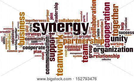 Synergy word cloud concept. Vector illustration on white