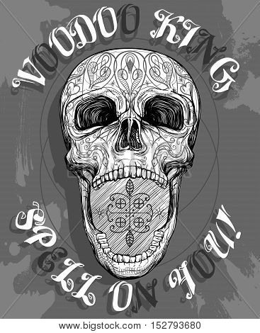 voodoo skull with opened jaw vector illustration