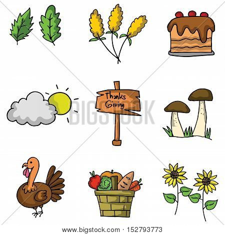 Thanksgiving element doodle vector art collection stock