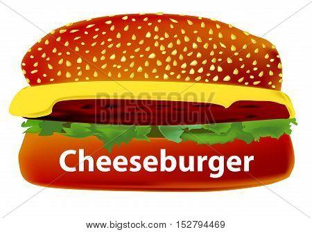 A large cheese burger in a sesame bun.