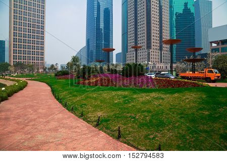 City Park buildings backgrounds streetscape at Shanghai Lujiazui