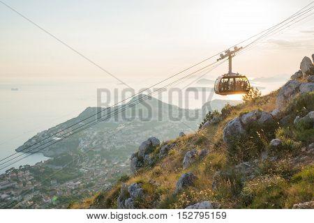 cableway up to the observation platform above Dubrovnik, Croatia.