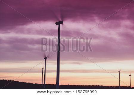 Windturbines At Sunset