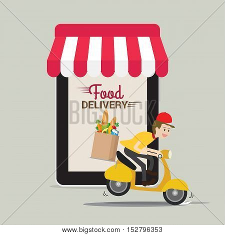 Food and fast food delivery online on smartphone. business concept design. illustration delivery concept.