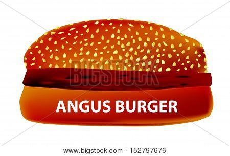 A large Angus Burger in a sesame bun.