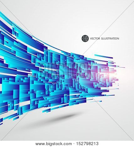 Blocks of abstract graphic composition blue structure,Abstract graphics, vector illustration.