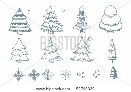 Vector illustration set of hand drown Fir trees from diffrent shapes. Christmas doodles of snowflakes. New Year fir trees isolate on white background