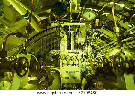 Detailed View Of Torpedo Room In Old Submarine