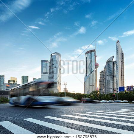 Shanghai Lujiazui financial district skyscrapers Motion Blur bus.