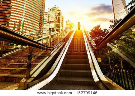 Shanghai streets of stairs and escalators skyscraper buildings. poster