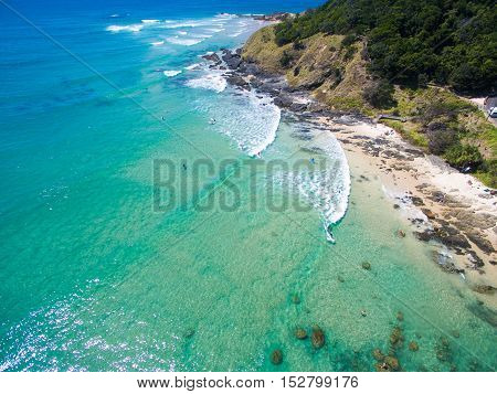 Byron Bay aerial photo with blue water