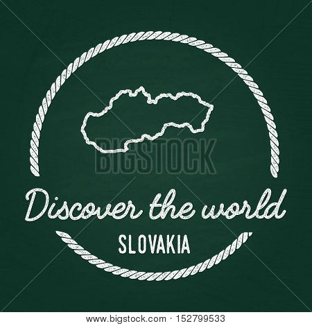 White Chalk Texture Hipster Insignia With Slovak Republic Map On A Green Blackboard. Grunge Rubber S