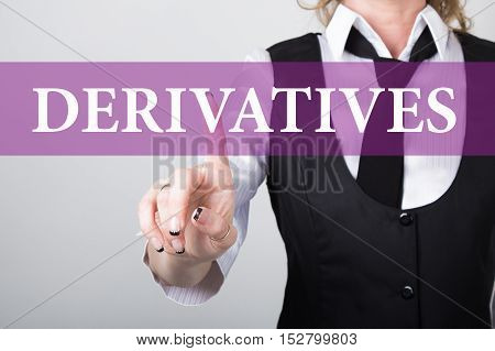 derivatives written on virtual screen. technology, internet and networking concept. woman in a black business shirt presses button on virtual screens.