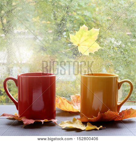 hot warming drink in the colored mugs on a background of rainy weather outside the window / greet autumn comfortably