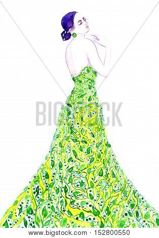 Fashion illustration, sophisticated woman in green eco dress, hand painted watercolor
