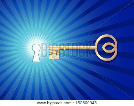 golden key open shining keyhole on blue background