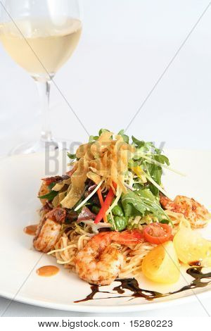 Beautiful Thai salad with prawns and noodles. Shallow depth of field.