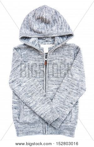 Gray hoodie sweater. Isolated on white background