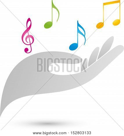 Music, musical key, notes, colored, logo, hand