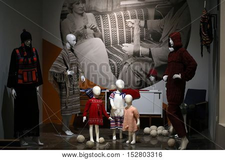 CRACOW POLAND - JANUARY 24 2016: Exhibition titled Fashionable in Communist Poland which reflects the unique character of fashion in the post-war decades. National Museum Cracow Poland