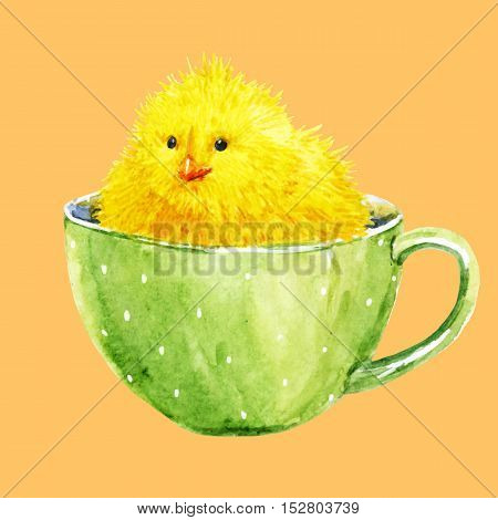 Beautiful image with watercolor cute yellow chick in a cup