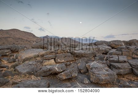 Jebel Shams the highest peak in Middle East at sunset