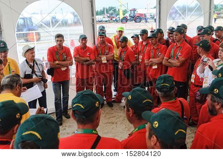 Tyumen, Russia - June 24, 2016: The 5th open championship of Russia on a plowed land. Instructing of participants before start