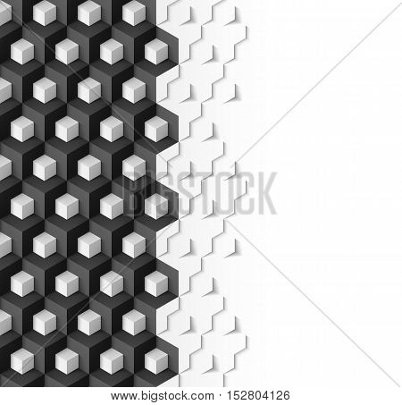 Abstract geometric background with cubes in black and white