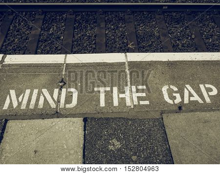 Vintage Looking Mind The Gap In London