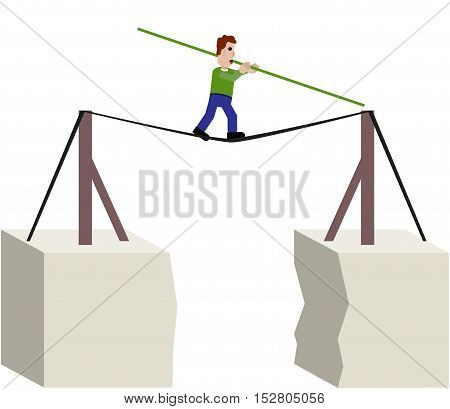 Man poised above the abyss on rope.
