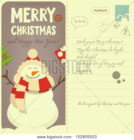 Vintage Postcard with Christmas and New Years Greeting. Backdrop of Postal Card for Winter Holiday. Cartoon Snowman. Vector Illustration.
