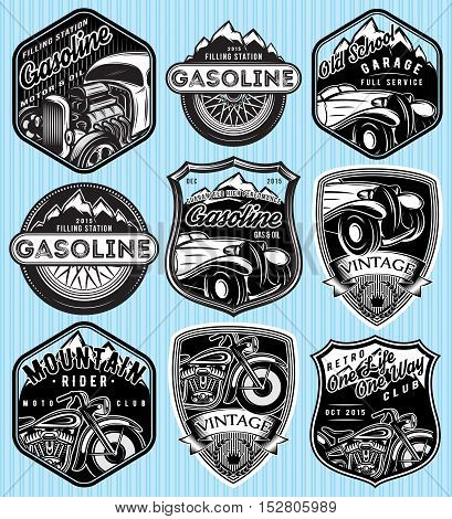 vector stylish set of badges for advertising gasoline retro cars or moto