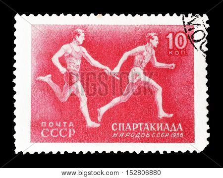 USSR - CIRCA 1956 : Cancelled postage stamp printed by USSR, that shows Race.