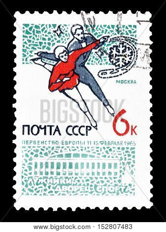 USSR - CIRCA 1965 : Cancelled postage stamp printed by USSR, that shows Ice skaters.