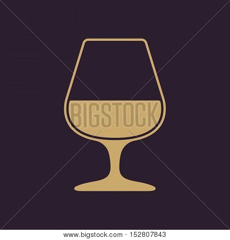 The glass with brandy icon. Brandy symbol. Flat Vector illustration