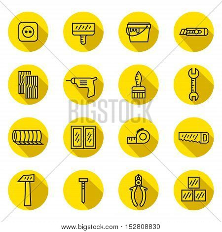Home repair and construction circle flat outline (black and yellow) vector icons set.