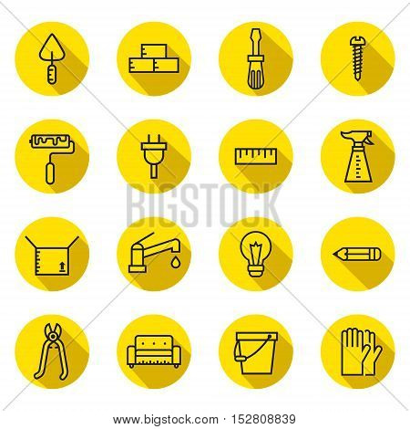 Home repair and construction circle flat outline (black and yellow) vector icons set with shadows.