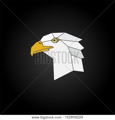Eagle head abstract isolated on a black backgrounds vector illustration.