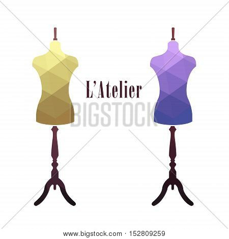 Vintage female tailor's mannequin. Fashion stand. sewing tailor mannequin. Vector illustration.