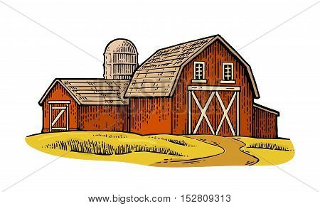 Organic farm. Vector engraving vintage color illustration. Isolated on white background.