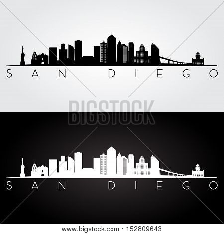 San Diego USA skyline and landmarks silhouette black and white design vector illustration.